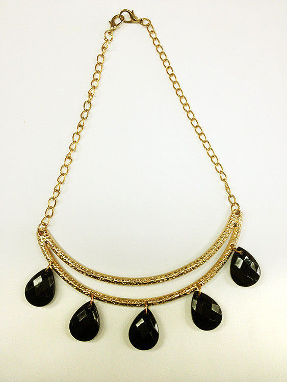 Crescent Moon Necklace, Gold-Tone, Five Multi-Faceted Black Beads - Roadshow Collectibles