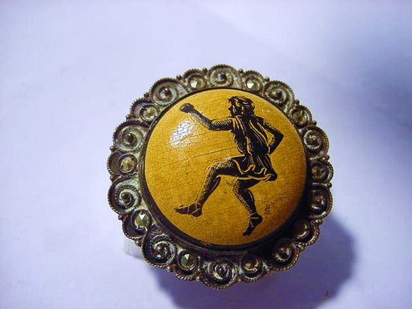 Round Silver Brooch, Ornate Filigree, Yellow Cabochon, Male Figure - Roadshow Collectibles