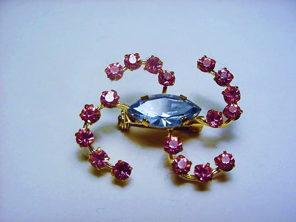 Austrian Crystal Brooch with Light Sapphire and Fuchsia Stones - Roadshow Collectibles