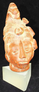 Bust Of The Mayan King Pakal, Redware Handmade, Lucite Base - Roadshow Collectibles