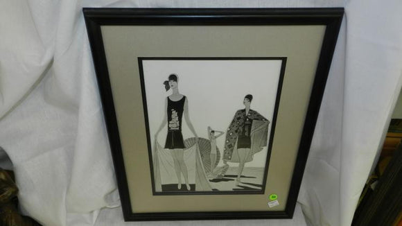 Art Deco Print, Three Women Posing On Beach, 1920s, Framed and Matted - Roadshow Collectibles