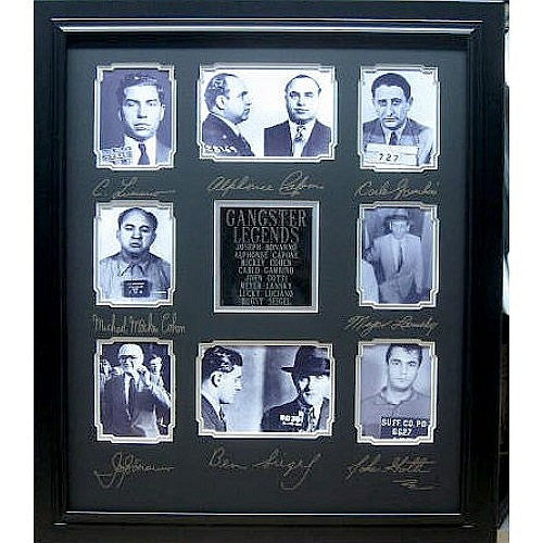 Gangster Legends, Mugshots with Engraved Signatures Framed - Roadshow Collectibles