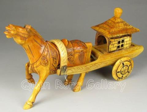 Chinese Hand Carved Bone Horse & Cart, The Horse looks to be Galloping - Roadshow Collectibles