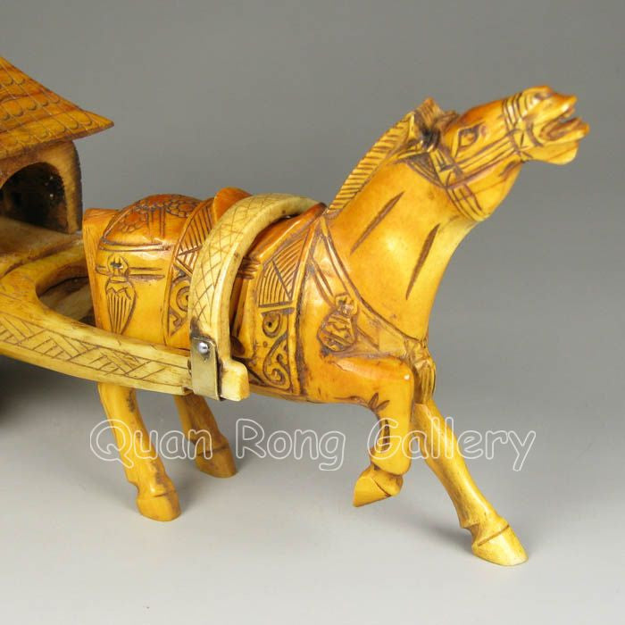 Horse Pulling Cart Hand Carved Bone Chinese Roadshow Collectibles