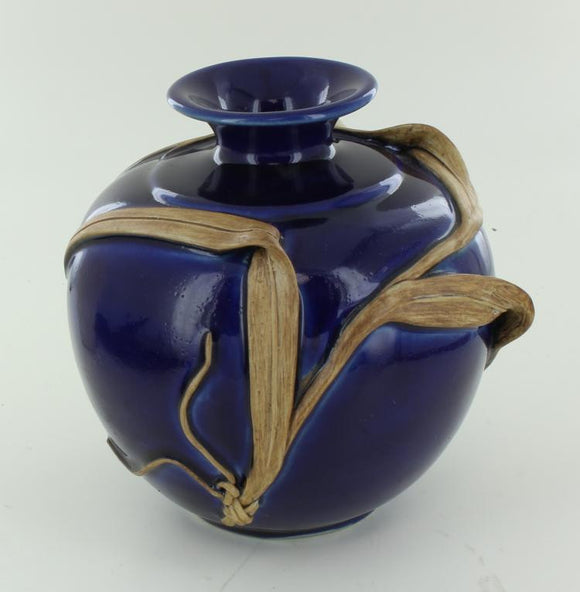 Deep Blue Handcrafted Ceramic Vase W/a Wheat Branch Wrapping the Vase - Roadshow Collectibles