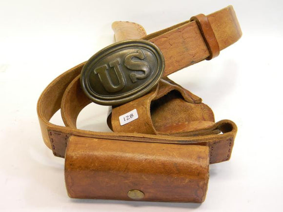 U.S Civil War Military Leather Belt Holster Bullet Pouch Brass Buckle - Roadshow Collectibles