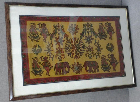Intricate Ancient Native Hand Stitched Framed Tapestry - Roadshow Collectibles
