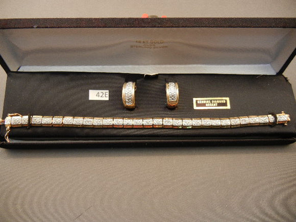 18K Gold over Sterling Silver Bracelet/Earrings W/Genuine Diamonds - Roadshow Collectibles