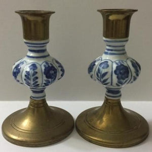 Jehvani Delft Candlestick Holders, a Pair, Brass and Porcelain - Roadshow Collectibles