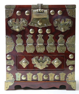 Japanese Brass Lacquered Keyaki (Elm) Wood Jewelry Chest - Roadshow Collectibles