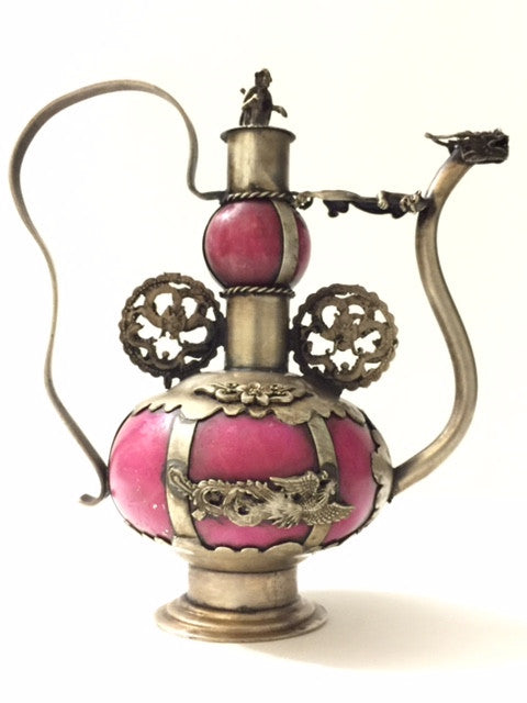 Handmade Old Chinese Red Jade Tibetan Silver Dragon Teapot - Roadshow Collectibles