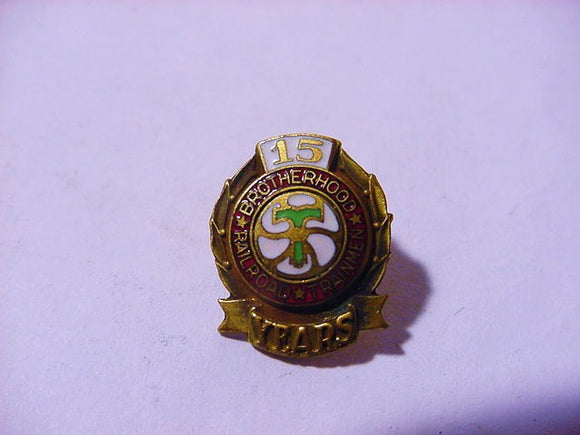 Brotherhood Of Railroad Trainmen, 15 Years Member, Lapel Pin - Roadshow Collectibles