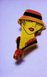 Flapper Brooch Pin, Bakelite, 1920's - Roadshow Collectibles