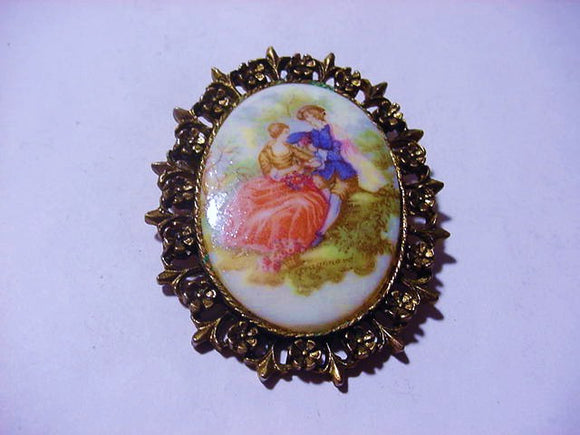 Courting Couple Brooch, Oval Shaped, Transfer Of a Fragonard Painting  - Roadshow Collectibles