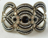 Bracelet, Silver-Tone, Black & White Rhinestones, Black & White Beads  - Roadshow Collectibles