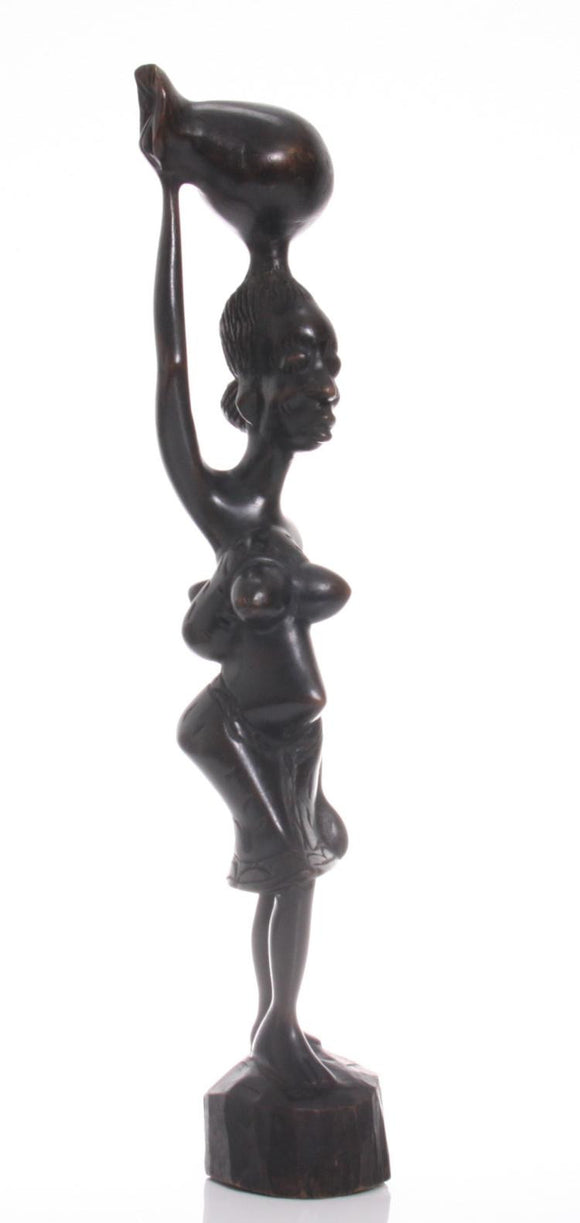 African Hand Carved Ebony, Pregnant Woman Carrying a Water Jug - Roadshow Collectibles