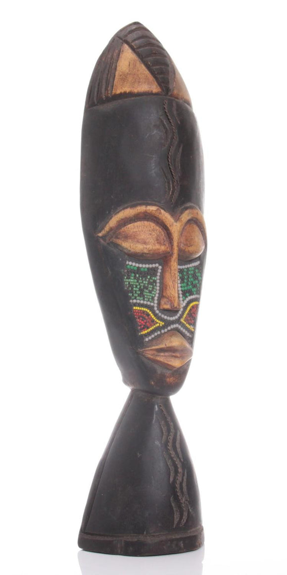 African Landa Mask, Hand Carved, Decorative Wall Hanging, Beaded Work - Roadshow Collectibles