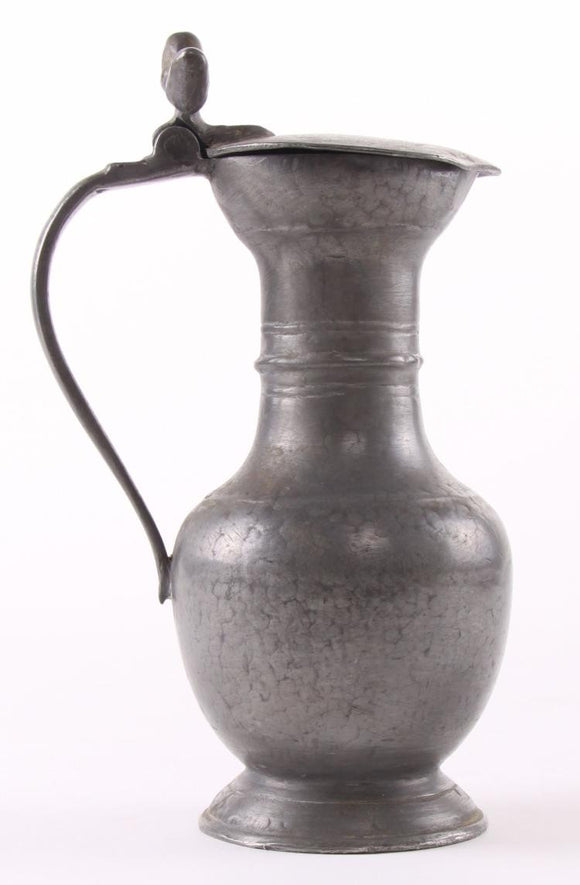 Pewter Wine Flagon Pitcher, Double Acorn Thumb, 19th Century - Roadshow Collectibles