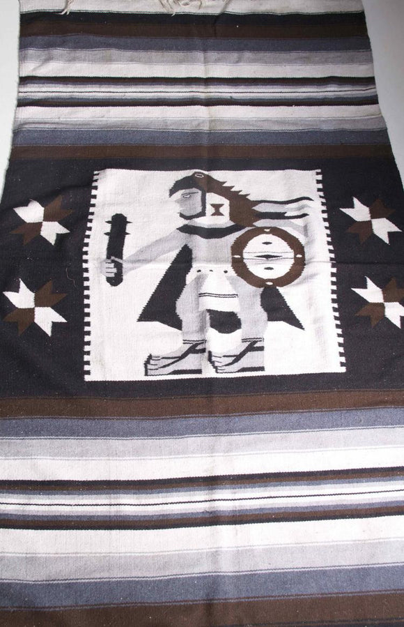 Zapotec Woven Blanket Rug Warrior Chief Neutral Colours Southern Mexico - Roadshow Collectibles