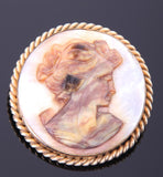 Alice Caviness Cameo Mother Of Pearl Brooch, Handmade, 12k Gold Filled - Roadshow Collectibles