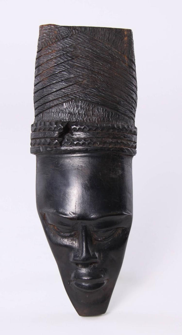 African Ghana Wall Mask, Woman with Braided Hair, Hand Carved Ebony - Roadshow Collectibles