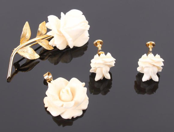 12kt Gold Filled Rose Brooch Pendant and Earrings in a Matching Set - Roadshow Collectibles