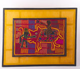 Mola Textile Elephant Rider Hand Stitched Brilliant Colors Early 1900 - Roadshow Collectibles
