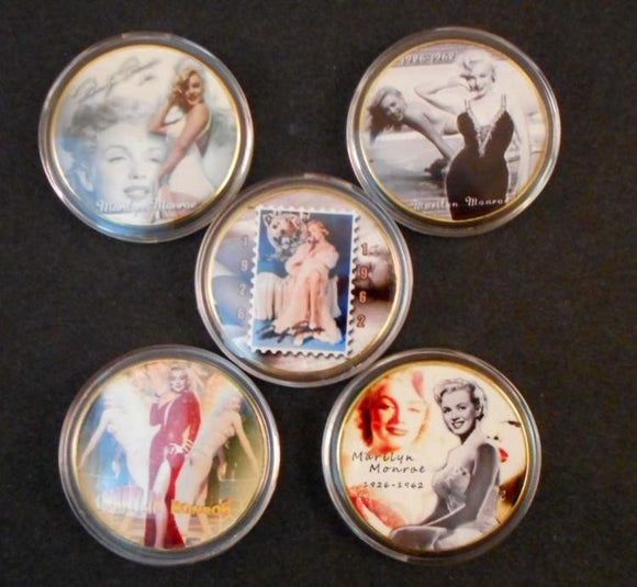 Marilyn Monroe Collectible Coins 24k Gold Clad Set of 5 - Roadshow Collectibles