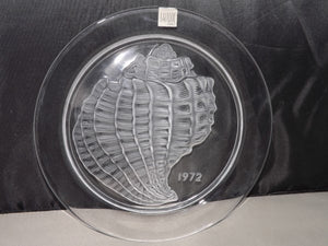 Lalique Crystal Shell Plate 1972, Signed Authentic Lalique Crystal - Roadshow Collectibles
