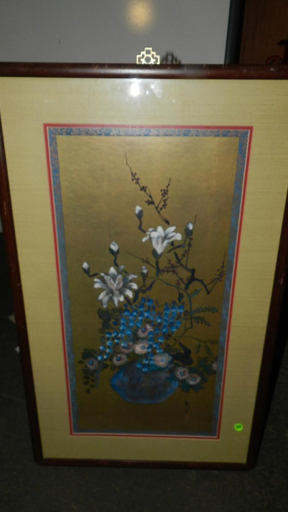 Blue Lotus Flower Painting, Large, Framed and Matted, Signed, Chinese - Roadshow Collectibles
