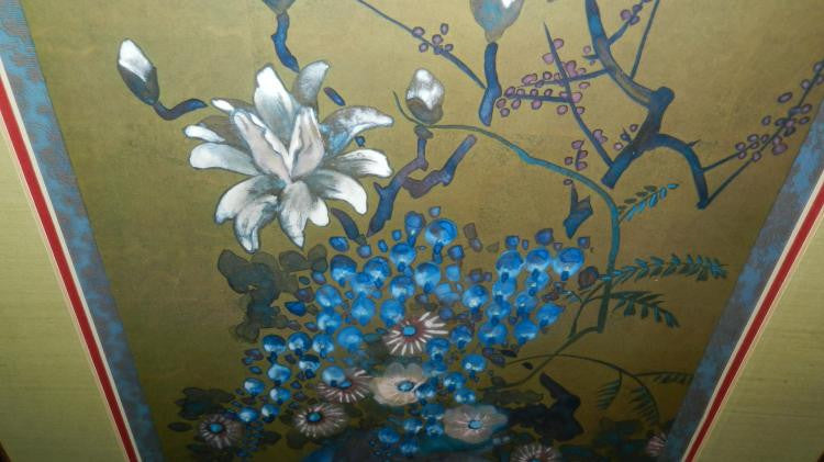 Blue Lotus Flower Painting Large Framed And Matted Signed