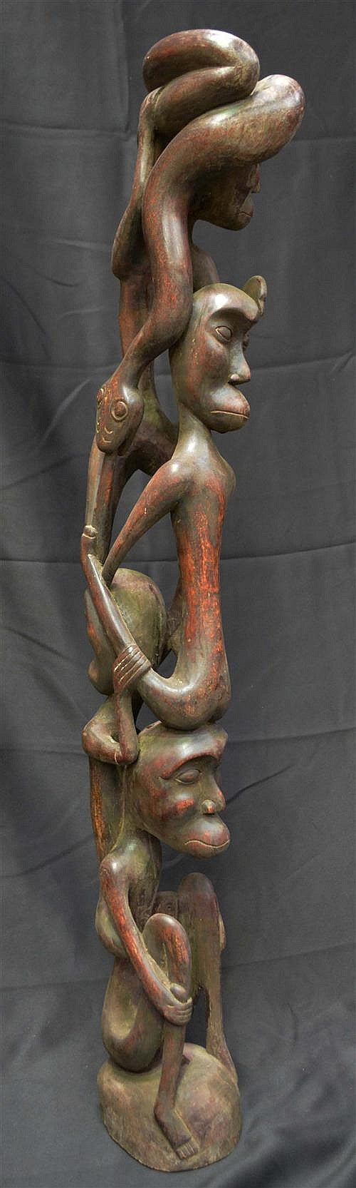 African Totem Hand Carved Snake and Figures Interconnected Large Piece - Roadshow Collectibles