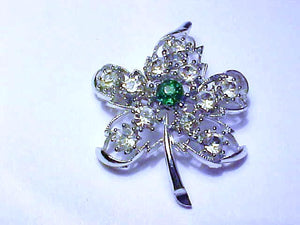 Leaf Brooch Pin with White and Green Rhinestones - Roadshow Collectibles