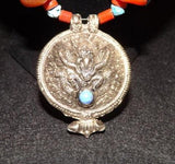 Middle East Silver Necklace, Turquoise, Red Coral & Amber Beads - Roadshow Collectibles