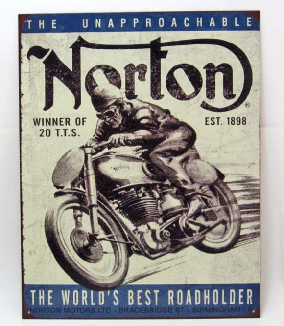 Norton World's Best Road Holder, Advertising Metal Sign, Repro - Roadshow Collectibles