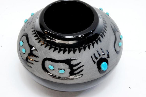 Pot, Blackware Pottery, Bear Paw Design, Signed, Juan Pueblo Mexico - Roadshow Collectibles