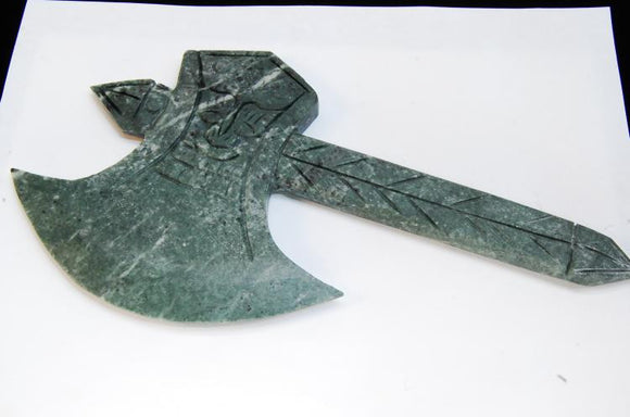 Natural Serpentine Carved Stone Axe with Handle - Roadshow Collectibles