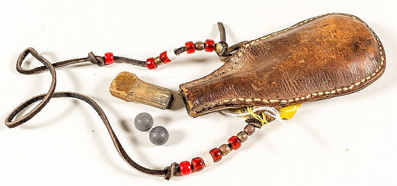 Native American Indian Leather Shot Pouch, Circa 1820-1840 - Roadshow Collectibles