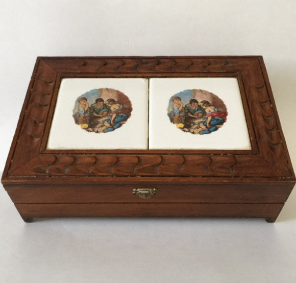 Hand Made Wood Carved and Inlaid Tile Jewelry Box - Roadshow Collectibles