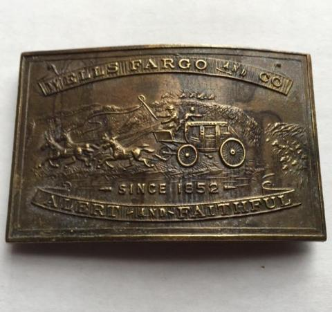 Wells Fargo & Co, Since 1852 Belt Buckle, Brass, Made in England - Roadshow Collectibles