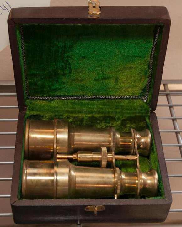 Brass Binoculars with Original Wooden Case, Lined with Green Felt - Roadshow Collectibles