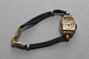 Pathe 14k Ladies Wristwatch with Black Cord Strap - Roadshow Collectibles