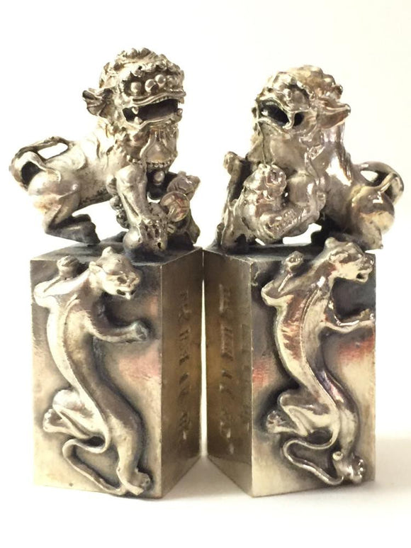 Tibetan KYLIN Temple Guardian FOO DOGS, Solid Silver - Roadshow Collectibles