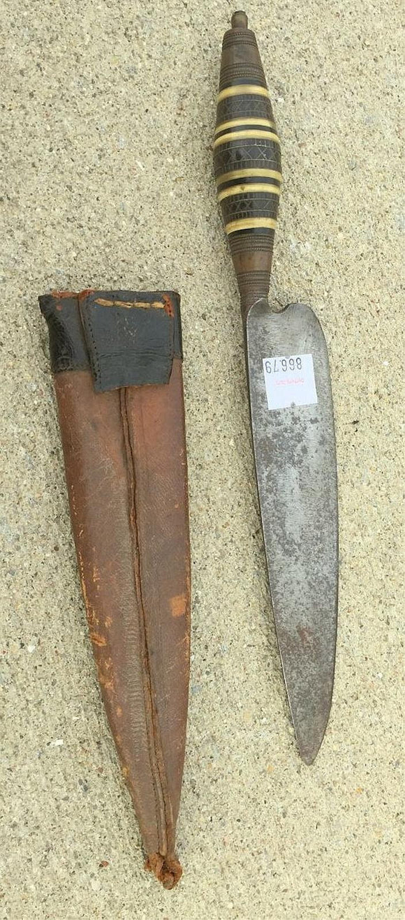 Knife with Decorative Handle and Leather Sheath, Very Old - Roadshow Collectibles
