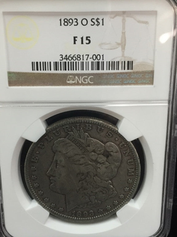 Morgan 1893 'O' Silver Dollar, F15 Certified By NGC - Roadshow Collectibles