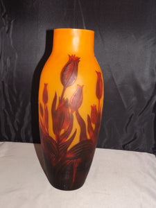 Galle Cameo Orange Glass Vase, Tulips, Marked Galle, Circa 1900 - Roadshow Collectibles