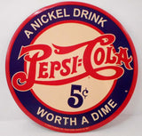 Pepsi Cola Metal Sign, Repro - Roadshow Collectibles