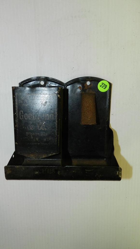 Advertising Match Safe Holder, Pressed Tin, Goehrend & Co - Roadshow Collectibles