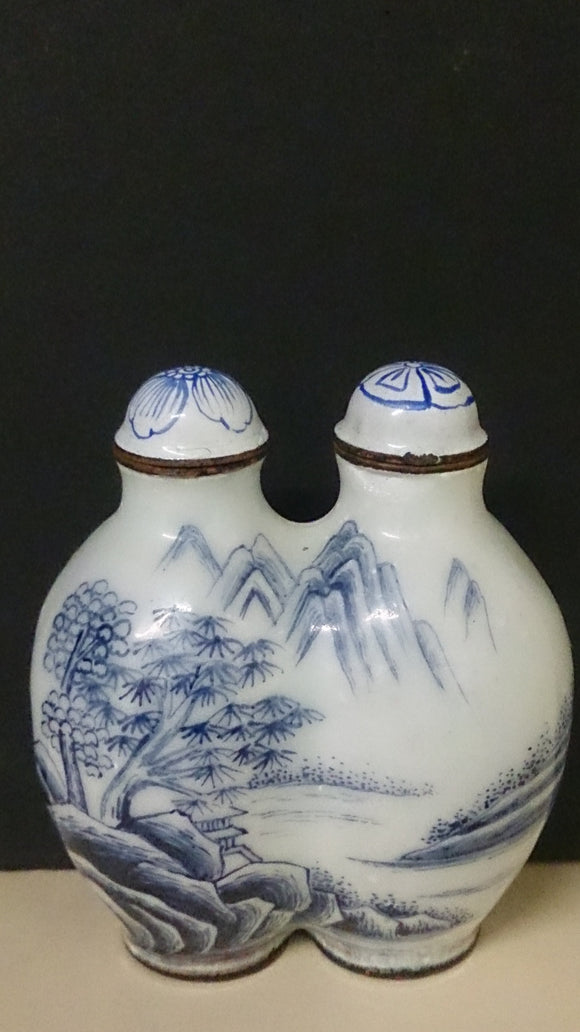 Snuff Bottle Twin Porcelain Hand Painted Trees and Mountains Chinese - Roadshow Collectibles