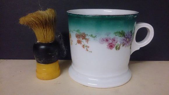 Mustache Cup with Brush/Hand Painted Floral Porcelain/Made in Germany - Roadshow Collectibles